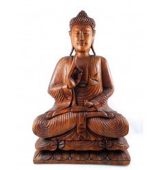 Great Buddha statue 80cm sitting in wood XXL. Sculpture is rare in Bali.