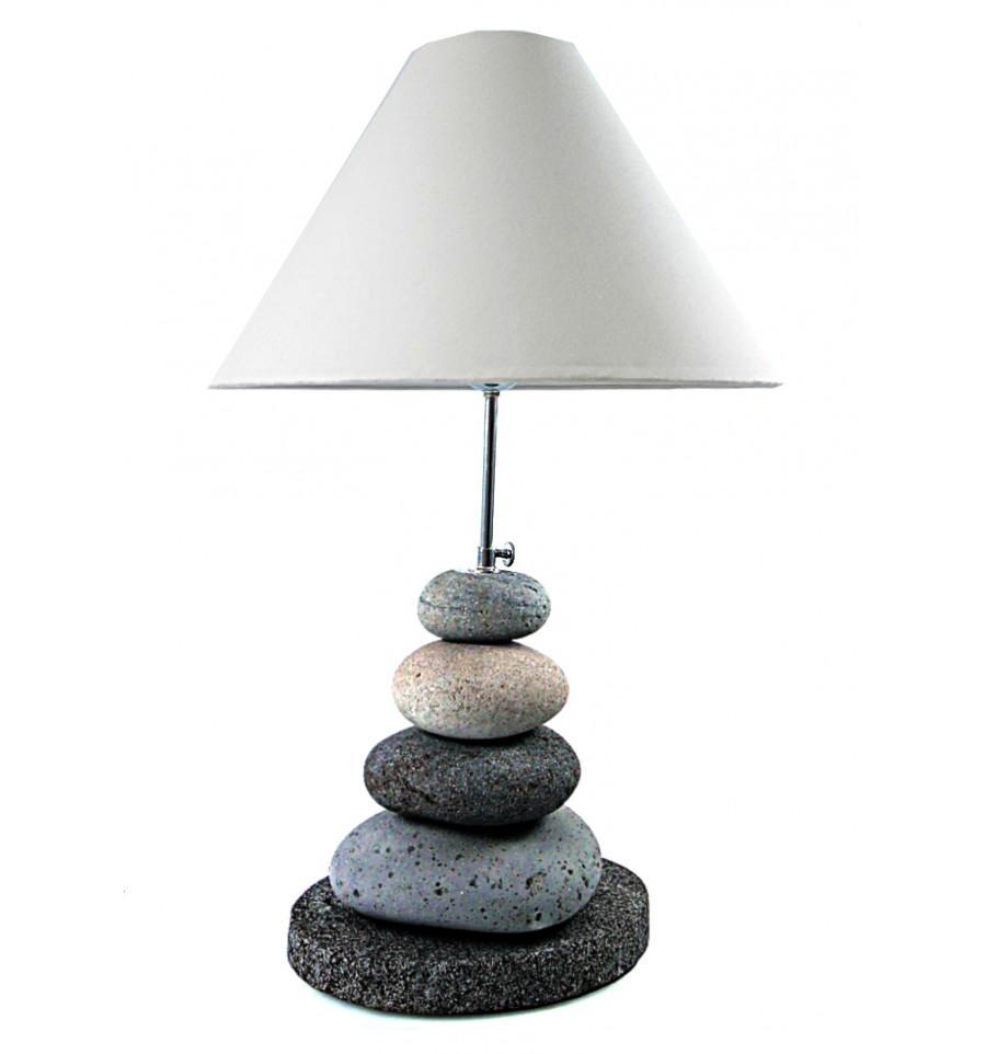 Lampe Galets Gris A Poser Creation Artisanale Faite Main Deco Zen