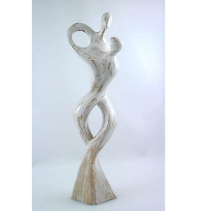 Grande statue couple enlacé, cadeau anniversaire mariage, noces bois.