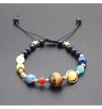 Bracelet système solaire en pierres fines. Bijoux femme originaux.