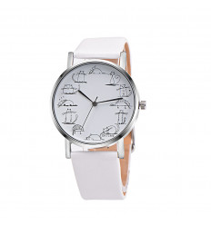 "Watch fantasy woman Chat ""all the time"", bracelet leatherette white."