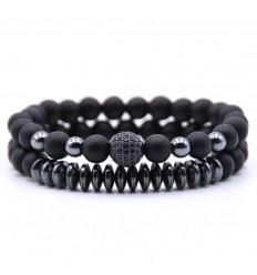 Lot de 2 bracelets Agate noire et Hématite