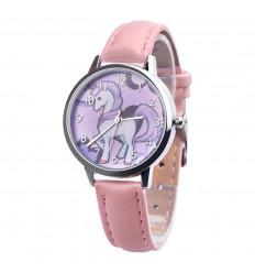 Montre enfant motif licorne, bracelet rose. Livraison France Gratuite !