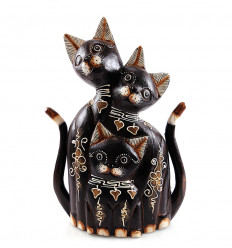 Statue family cat wood. Traditional decoration. Gift idea family.