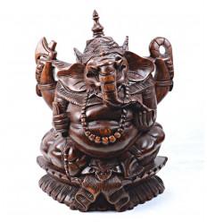 Statua di Ganesh * H17cm in legno massello intagliato a mano