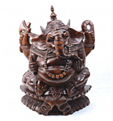 Statue of Ganesh * H17cm in solid wood carved by hand