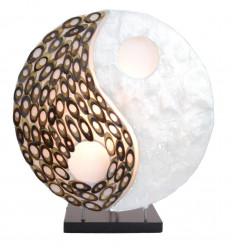 Lampe chevet zen yin yang, décoration asiatique, artisanat Bali.