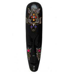 Grand masque africain strass motif tortue. Décoration murale ethnique.