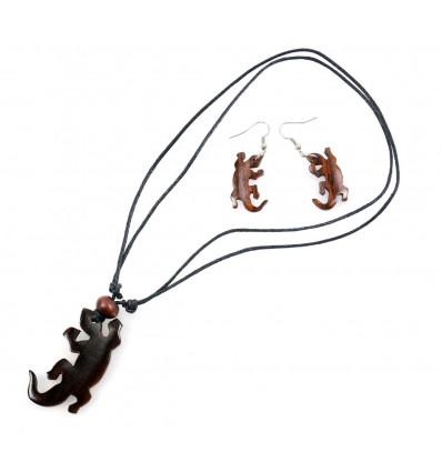 Parure BOIS collier + boucles d'oreilles Gecko. Livraison gratuite !