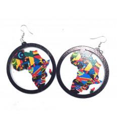 Boucles d'oreilles Africa reggae - Carte d'Afrique colorée