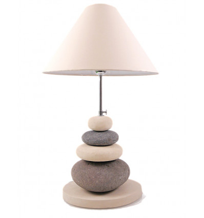Living room lamp small river pebbles. Natural decoration.