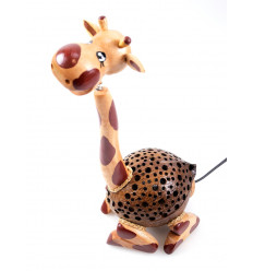 Lampada Giraffa in legno e guscio di noce di cocco intagliato a mano in Thailandia