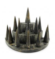 """Porte-bagues / Présentoir à bagues (13 cônes) en bois finiton """"noir vintage"""""""