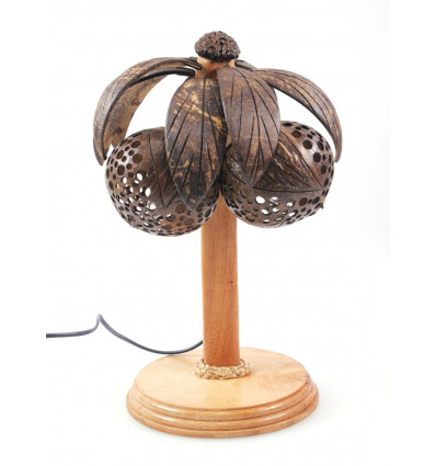 Lamp turtle wood and coconut shell carved - handcrafted in Thailand