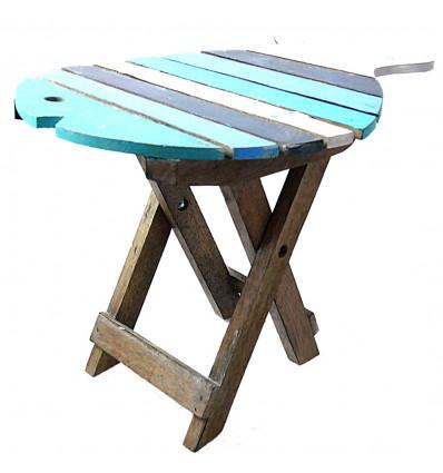 Tabouret pliant / table d'appoint en bois forme Poisson
