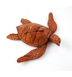 Statue tortue, sculpture en bois. Objet collection décoration tortue.