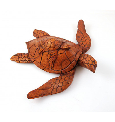 Statue tortoise sculpture in wood. Object collection decoration turtle.