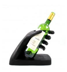 """Portabottiglie - Display bottiglia di vino """"Pensatore"""" in legno finitura a cera naturale."""