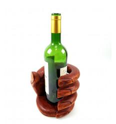 Porte bouteille forme Main. Présentoir à bouteille de vin en bois.