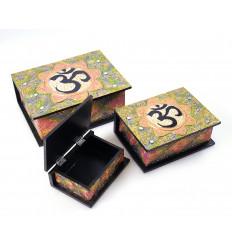 Boîtes gigognes x3 en bois décor Bouddha Ôm. Fabrication artisanale.