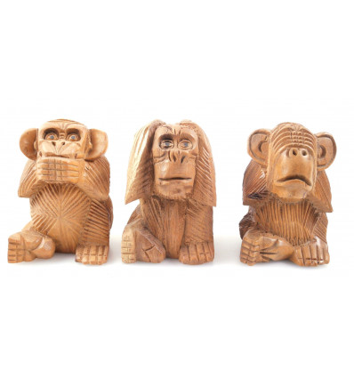 """Les 3 singes """"secret du bonheur"""". Statuettes en bois brut H10cm"""
