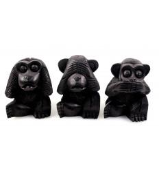 """Le 3 scimmie """"segreto della felicità"""". Statuette in legno nero 10"""