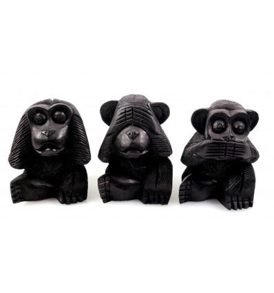 """Les 3 singes """"secret du bonheur"""". Statuettes en bois noir H10cm"""