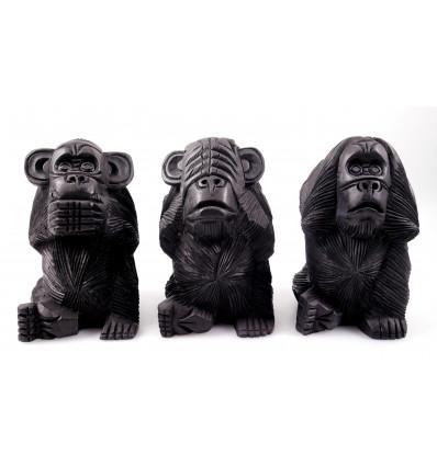 Les 3 singes de la sagesse XL. Statues en bois noir H20cm
