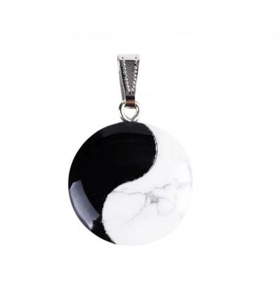 Collana ciondolo Yin Yang in howlite e onice. Gioielli Zen non costoso.