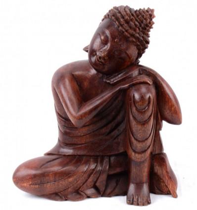 Seduta Statua di Buddha h20cm legno massello intagliato a mano