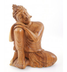 Buddha Statue sitting h20cm raw wood carved hand