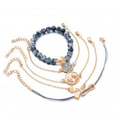 Combo 5 bracelets style bohème en métal doré, symboles infini, tortue, love, ...