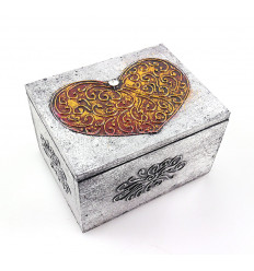 Heart box ethnic style wood, decorated by hand, not expensive.