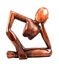"""Statuette abstraite """"Penseur"""" h20cm - Bois marron massif sculpté main teinte marron"""