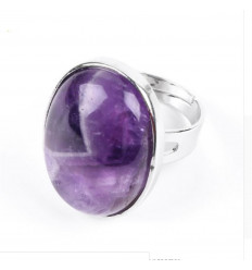 Ring adjustable oval Stone amethyst