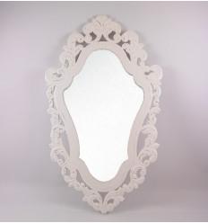 Miroir baroque en bois blanc, décoration maison du monde pas cher.