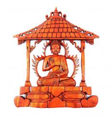 """Décor mural """"temple de Bouddha"""". Sculpture artisanale sur bois."""