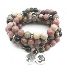 Mala 108 perles en Rhodonite naturelle - Symboles Ôm et Arbre de vie