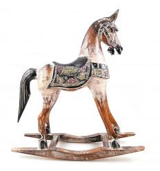 Cavallo a dondolo in legno, acquisto statua retrò vintage nostalgico.