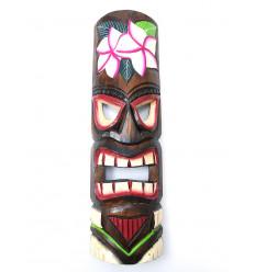 Masque Tiki h50cm en bois motif Fleur. Décoration Tahiti