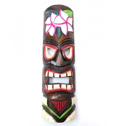 Grand masque tiki 50cm bois pas cher. Déco murale Tahiti Polynésie Maori.
