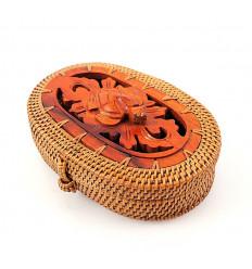 Piccola scatola ovale in rattan, legno tartaruga. regalo tartaruga animale totem.