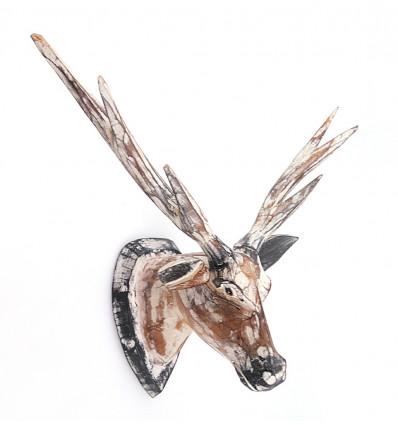 Trophée tête de Cerf en bois, achat décoration murale scandinave.