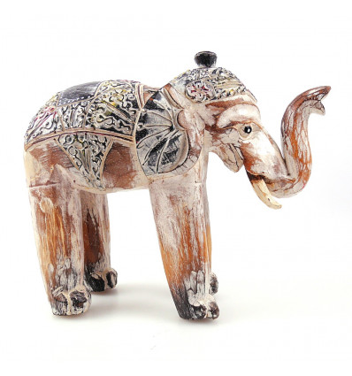 Elephant, statue in weathered wood, vintage 25cm