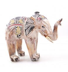 Statuette éléphant blanc en bois patiné 15cm