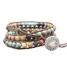 Bracelet Wrap Manchette en cuir et pierres naturelles - Paix et sérénité