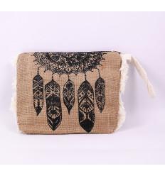 Kit pouch in jute. Cover orgainseur handbag bohemian.