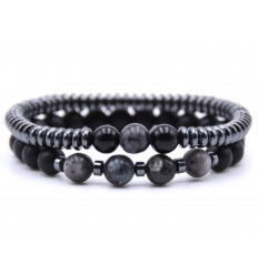 Lot of 2 bracelets black Agate and Hematite