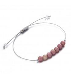 Bracelet porte-bonheur en rhodochrosite, compassion, solidarité.