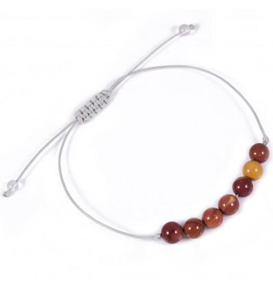 Bracelet porte-bonheur en jaspe mokaïte, pierre du courage.